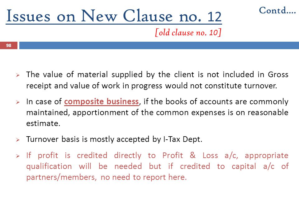 Issues on New Clause no. 12 [old clause no. 10]